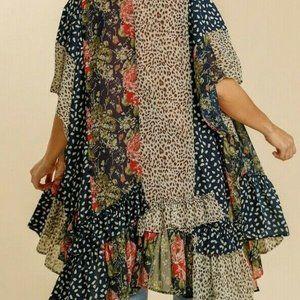 Umgee Kimono Floral Animal Print Boho Peasant
